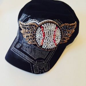 Olive and Pique Jeweled Cadet Hat baseball themed